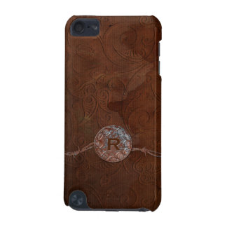 Rustic Antique Look Embossed Leather Monogram iPod Touch (5th Generation) Case