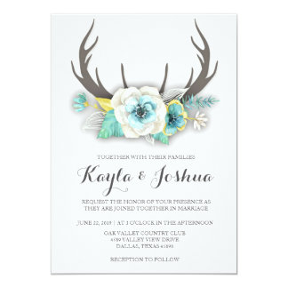 Rustic Antler Wedding Invitation