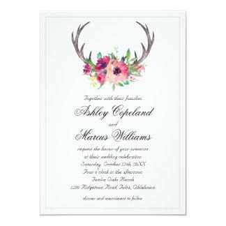 Rustic Antlers Boho Floral Allure Wedding 13 Cm X 18 Cm Invitation Card
