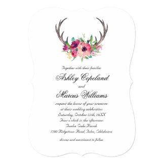 Rustic Antlers Boho Floral Allure Wedding Card