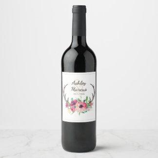Rustic Antlers Boho Floral Allure Wine Label