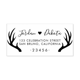 Rustic Antlers & Cute Heart Wedding Return Address Rubber Stamp