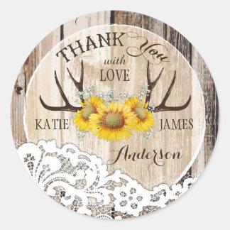 Rustic Antlers Lace Sunflowers Boho Wedding Round Sticker