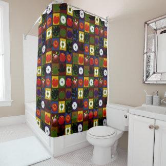 Rustic Apple Harvest Faux Quilt Shower Curtain