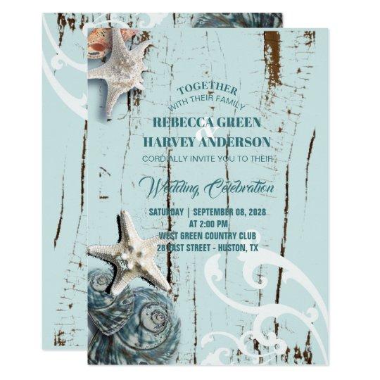 rustic aqua blue seashell beach starfish wedding card