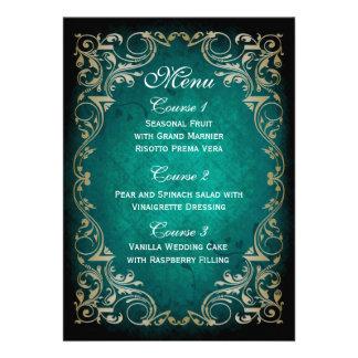 rustic aqua gold regal wedding menu personalized announcements