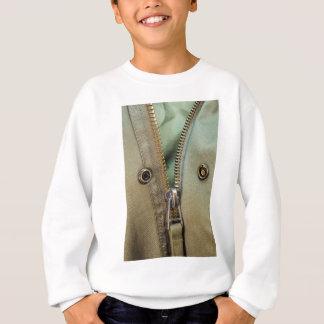 Rustic Army Green Zipper Print Sweatshirt