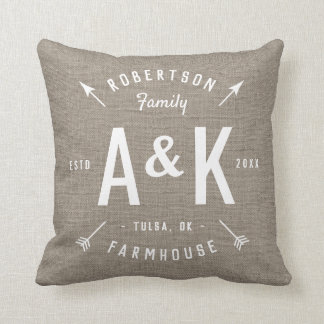Rustic Arrow Family Monogram Cushion