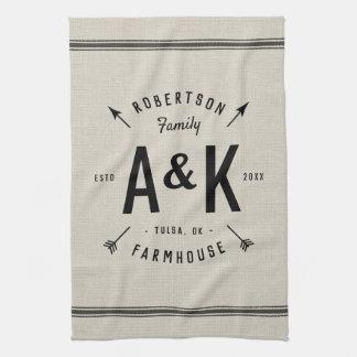 Rustic Arrow Family Monogram Tea Towel