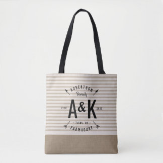 Rustic Arrow Family Monogram Tote Bag