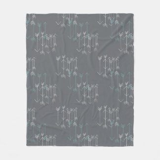 Rustic Arrows Gray Aqua White Fleece Blanket