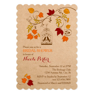 Rustic Autumn Birdcage Bridal Shower Invitation