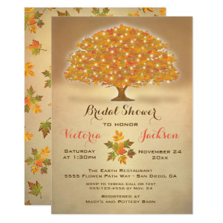 Rustic Autumn Bridal Shower with twinkle lights Card