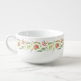Rustic Autumn fall flowers and leaves Soup Mug