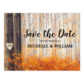 Rustic Autumn Fall Leaves Save the Date Postcard