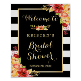 Rustic Autumn Floral Leaves Bridal Shower Sign