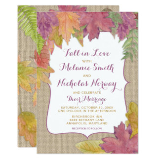 Rustic Autumn Leaf Fall Wedding Invite 3973