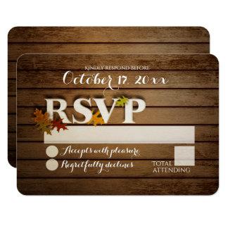 Rustic Autumn Leaf RSVP Wedding Card