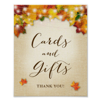 Rustic Autumn Leaves Burlap Cards & Gifts Sign