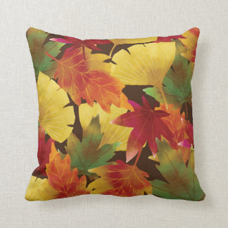 Rustic Autumn Leaves Decorative Throw Pillow