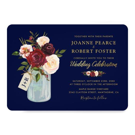 Rustic Autumn Mason Jar Burgundy Navy Gold Wedding Card
