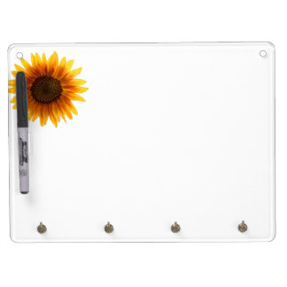 Rustic Autumn Sunflower Dry Erase Board With Key Ring Holder