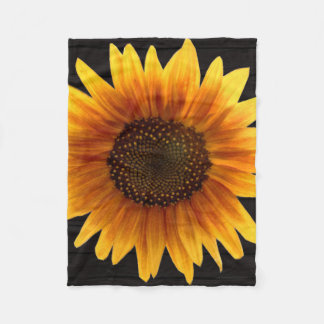 Rustic Autumn Sunflower Fleece Blanket