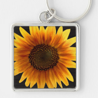 Rustic Autumn Sunflower Key Ring