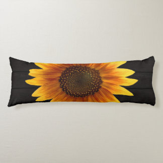 Rustic Autumn Sunflower Wood Texture Body Cushion