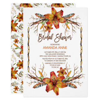 Rustic Autumn Tiger Lily Bridal Shower Invitation