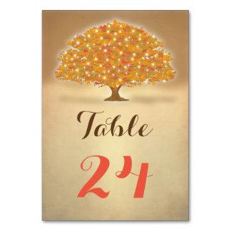 Rustic Autumn Tree lights table numbers
