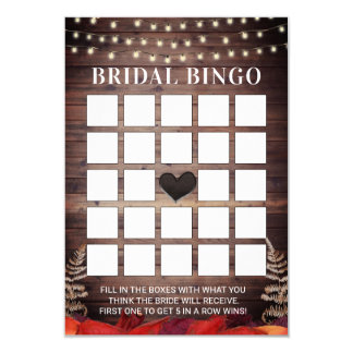 Rustic Autumn Wedding Bridal Shower Bingo Cards