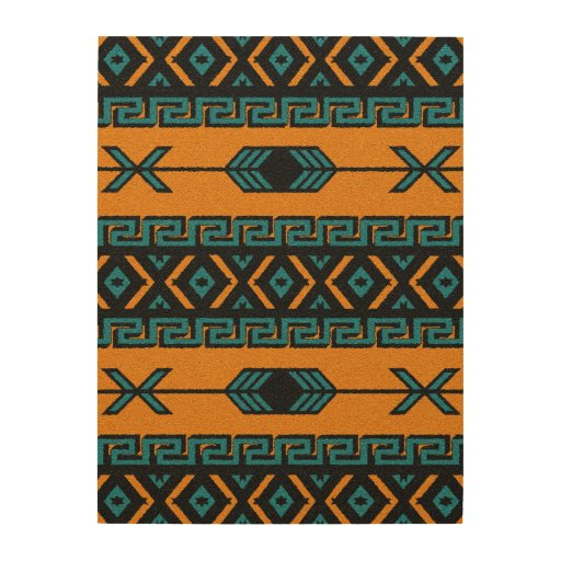 South West Inlay Designs And Patterns : Rustic aztec tribal pattern southwest wall art wood
