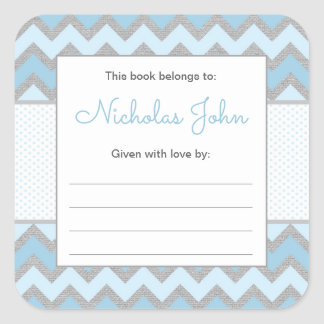 Rustic Baby Boy Bookplate, build a library baby Square Sticker