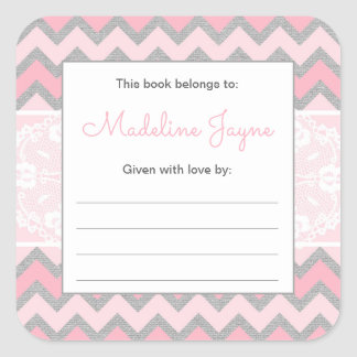 Rustic Baby Girl Bookplate, build a library Square Sticker