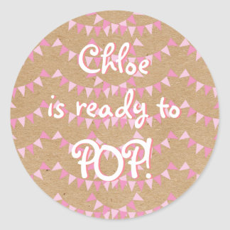 Rustic Baby Pink Bunting Ready to POP! Baby Shower Classic Round Sticker