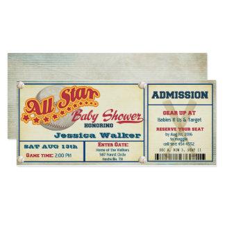 Rustic Baby Shower Invitation--Baseball Ticket Card