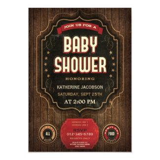 Rustic Baby Shower Vintage Chalkboard & Wood Magnetic Invitations