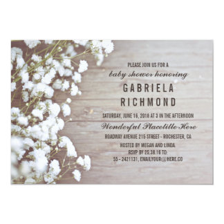 Rustic Baby's Breath Barn Wood Baby Shower Card