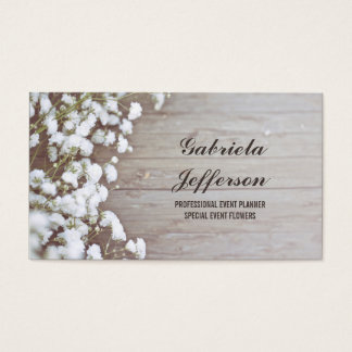 Rustic Baby's Breath Country Barn Floral Business Card