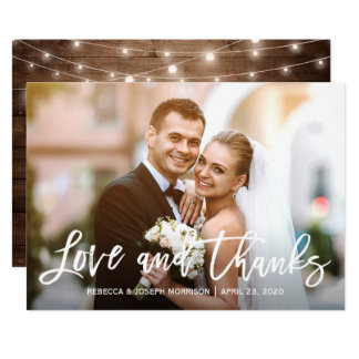 Rustic Baby's Breath Love and Thanks Wedding Photo Card