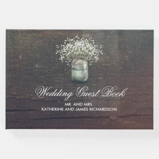 Rustic Baby's Breath Mason Jar Wedding Guest Book