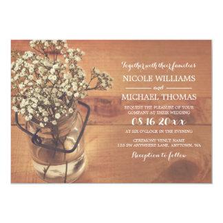 Rustic Baby's Breath Mason Jar Wood Wedding 13 Cm X 18 Cm Invitation Card