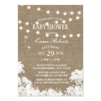 Rustic Babyu0027s Breath String Lights Baby Shower Card