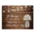 Rustic Baby's Breath String Lights Bridal Recipe Postcard