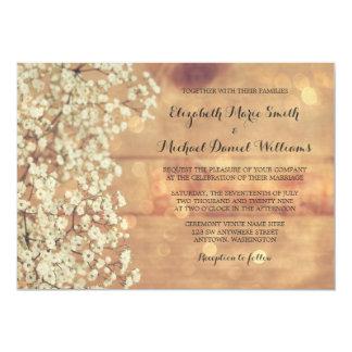 Rustic Baby's Breath Wood Wedding Invitations