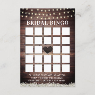Rustic Baby's Breath Wooden Bridal Bingo Cards