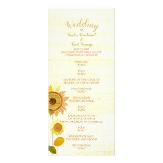 Rustic Backyard Sunflowers Wedding Program Rack Card