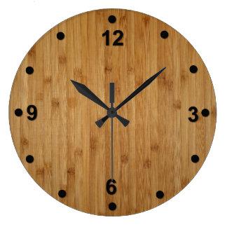 Rustic Bamboo Wood Look Clock