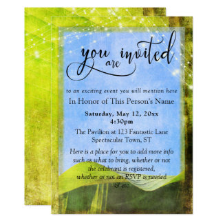 Rustic Banana Leaf & Lights General Party & Event Card